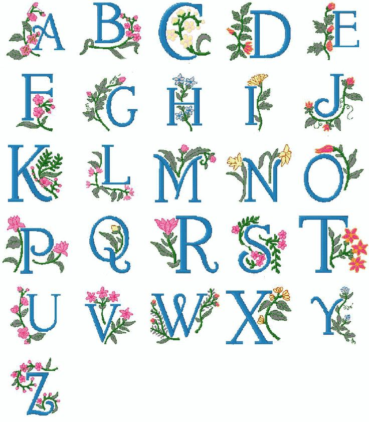 Free+Pes+Embroidery+Designs | Brother Pes Machine embroidery Alphabet 2nd collection Floral Design ...