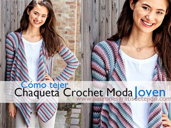 Chaqueta Juvenil A Crochet Paso A Paso Crochet Y Dos Agujas Patrones De Tejido Chaqueta De Ganchillo Chaquetas Croché