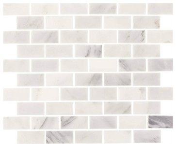 "Aspen White Marble 1""X2"" Minibrick Subway Tile (Backsplash, Wall, Floor), Sample contemporary-mosaic-tile"