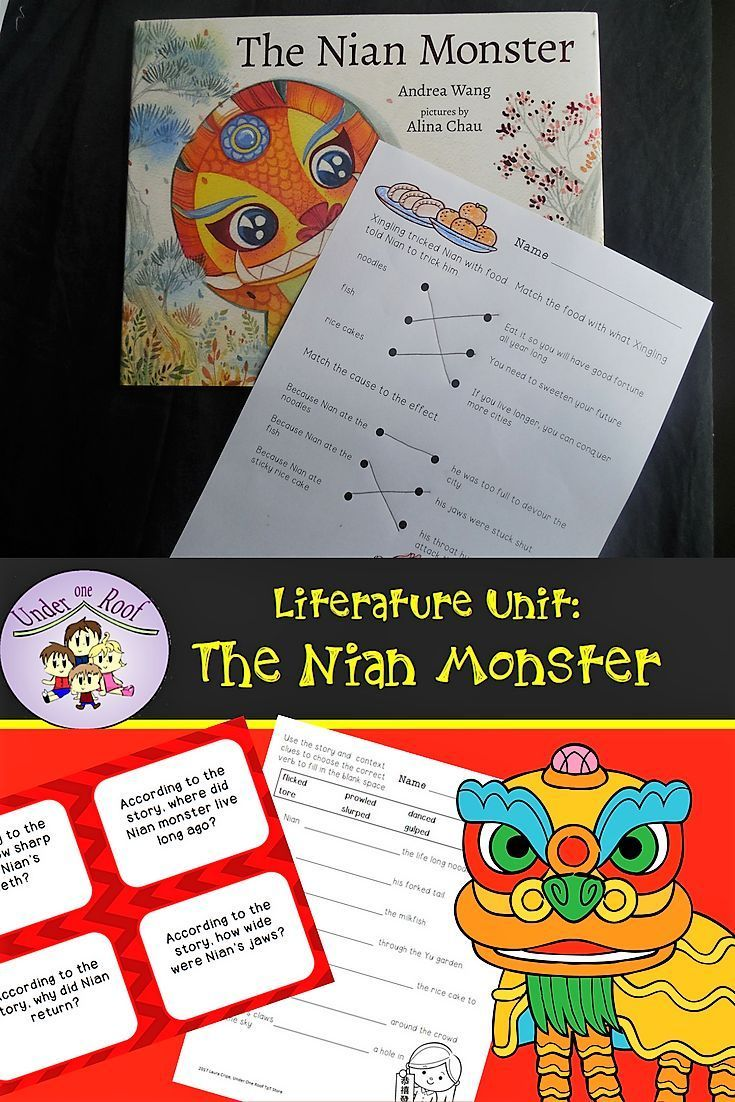 The Nian Monster A Literature Unit For Chinese New Year Tpt Digital Activites Literature Unit Chinese New Year Kindergarten Activities