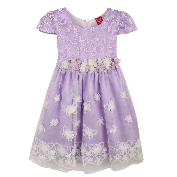 Summer Girl Fashion  Dress Purple Flower Print  Butterfly  Lace Belt Party Pageant Wedding Princess Kids Clothing SZ 4-12 $18.99 - 20.99