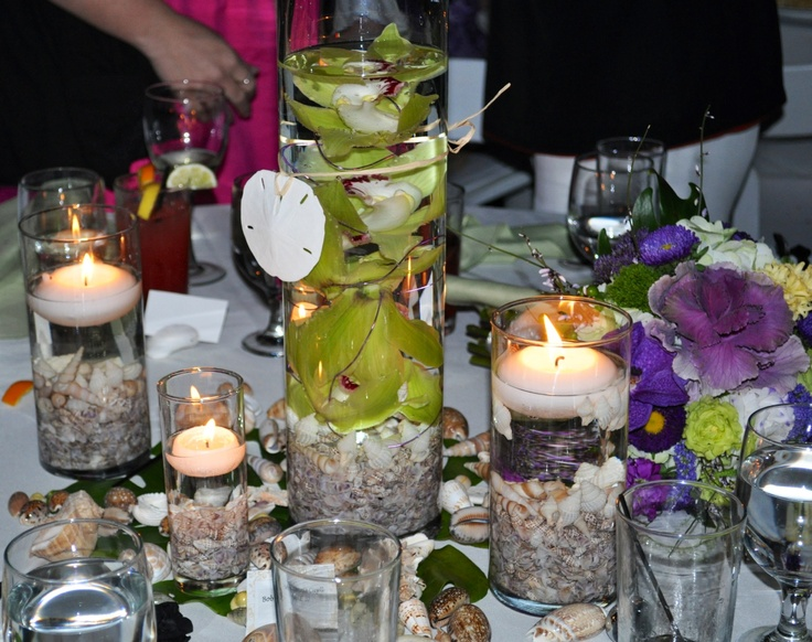 Beach wedding centerpiece/candles & shells