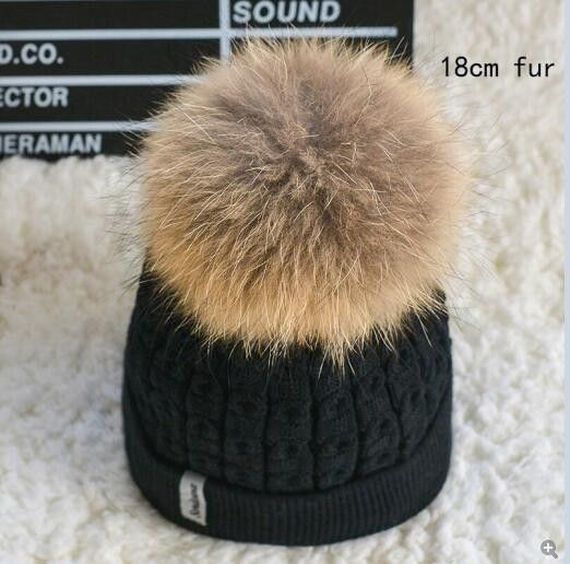 100% real fur pompom hat inside Velvet slouchy Knitted winter hats for women mink Beanies Knit female Cap bonnet