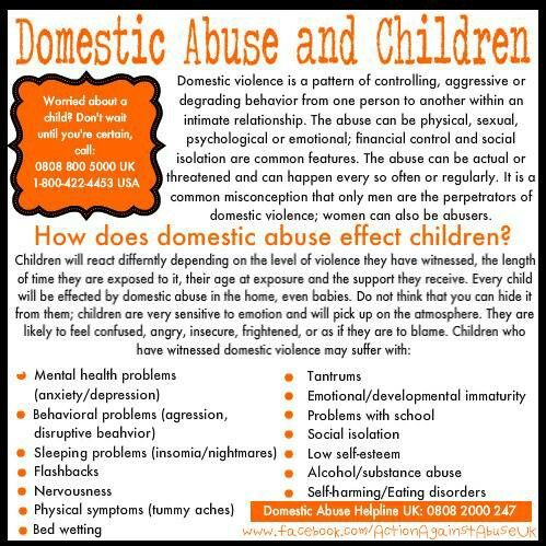 Children are affected even when they are not the target of the abuse. #DomesticViolenceAwareness #DomesticViolence