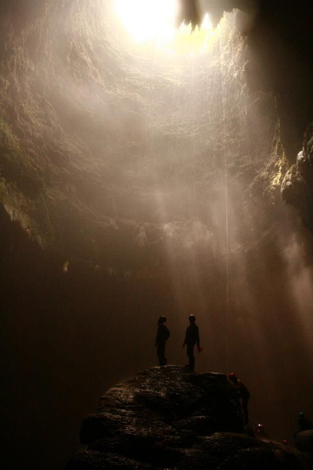 Jomblang Vertical Cave's Ray of Light. Located in Gunung Kidul, Jogjakarta, Indonesia.