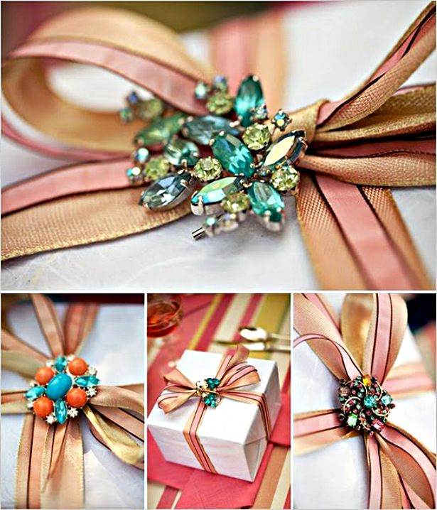 Creative wrapping with ribbon + vintage jewelry