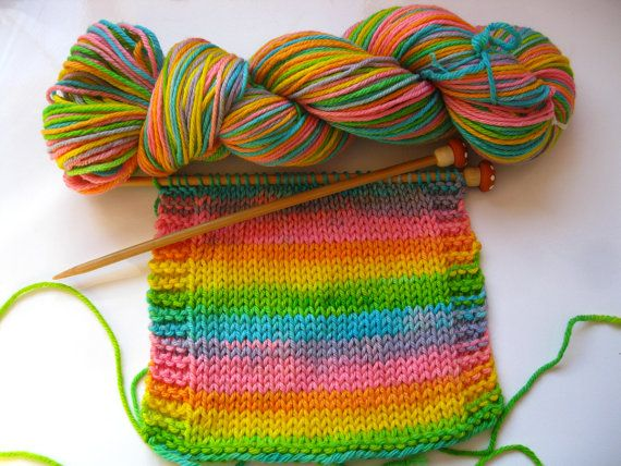 Easter Self striping superwash wool worsted weight by knitpurlgurl, $25.00