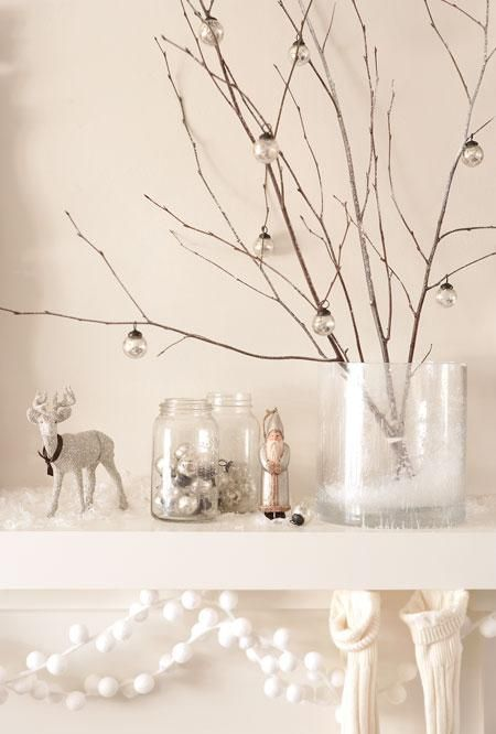 white christmas: Photos Galleries, Silver Christmas, Christmas Decor Ideas, White Christmas, Holidays Decor, Christmas Trees, Branches, Ornaments, Mantles