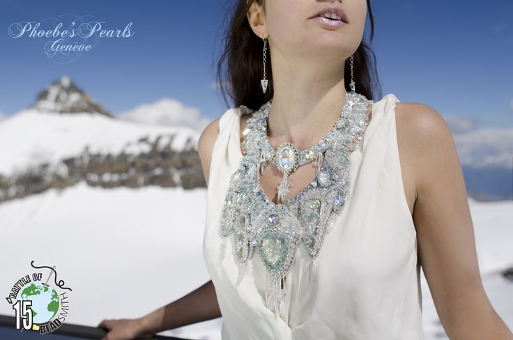 Baïkal, Siberia's Pearl Baïkal, Perle de la Siberie My participation necklace to the BOTB15 Battle of the Beadsmith. Bead embroidery creation Model : Solenne Fox Photo: Niels Renard On FB for the moment