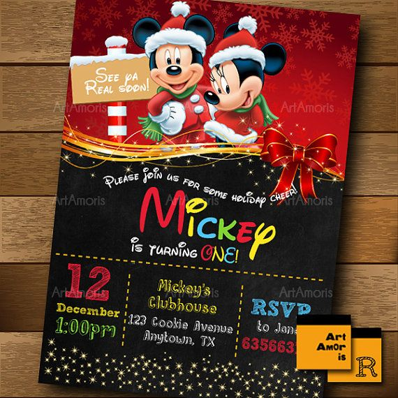 Mickey Birthday Invitation Minnie Birthday Invitation by ArtAmoris