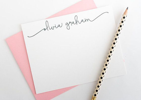 Personalized stationery with calligraphy-style lettering is perfect for your desk or as a gift!  This listing includes a set of 10 A2-sized (5.5""