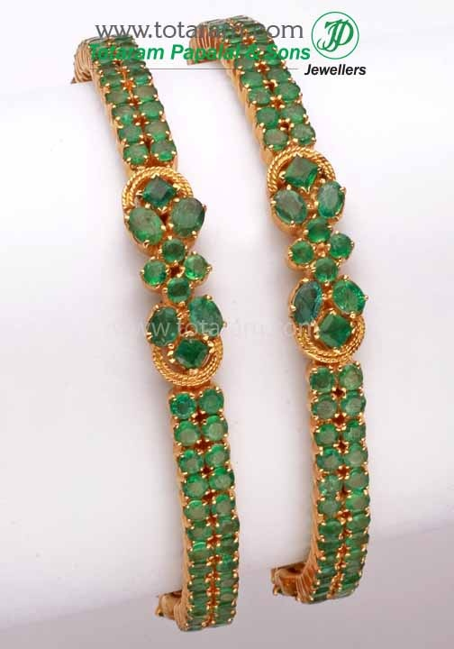 Totaram Jewelers: Buy 22 karat Gold jewelry & Diamond jewellery from India: 18K Gold Emerald Bangle - Set of 2(1 Pair).
