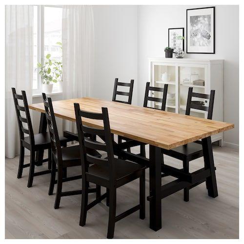 6 Cafe Stoelen.Ikea Skogsta Kaustby Tafel Met 6 Stoelen Eettafel Eetkamer
