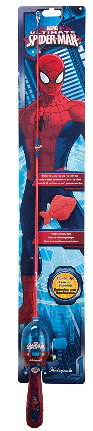 Shakespeare Spiderman Lighted Fishing Kit >>> Click image to review more details.
