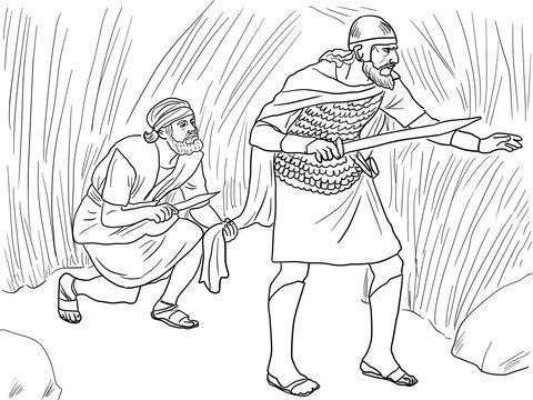 david cuts sauls robe coloring page from king david category select from 26073 printable crafts of cartoons nature animals bible and many more - David Jonathan Coloring Pages
