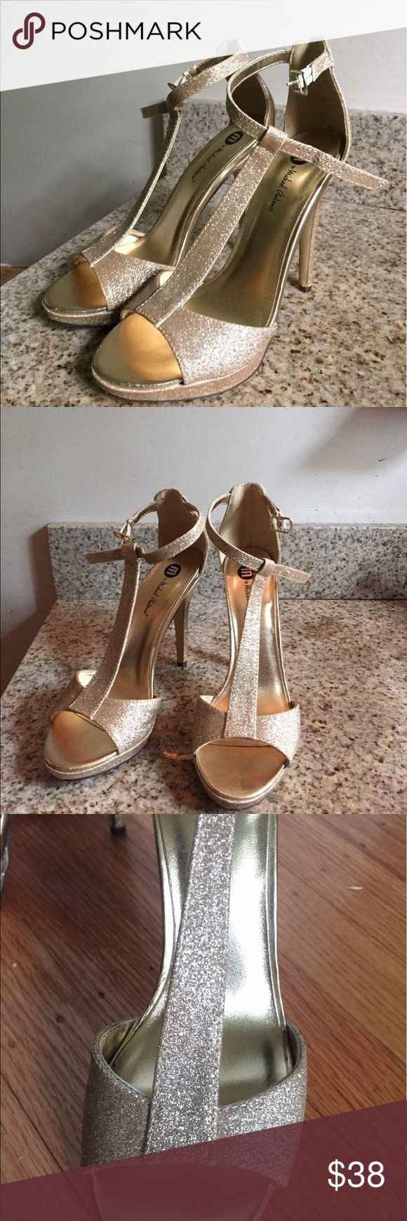 Gold heels GORGEOUS sparkly gold heels:) These babies will make your feet look amazing...if you can stand in these 4 in heels! Originally bought for $80 and only worn once. I bought from another seller but never wore them bc they're a bit too small for me. #gold #heels #prom Shoes Heels