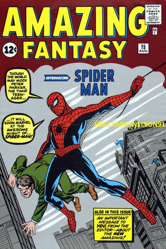 STAN LEE AMAZING FANTASY #15 MARVEL POSTER STEVE DITKO SPIDER-MAN PETER PARKER X