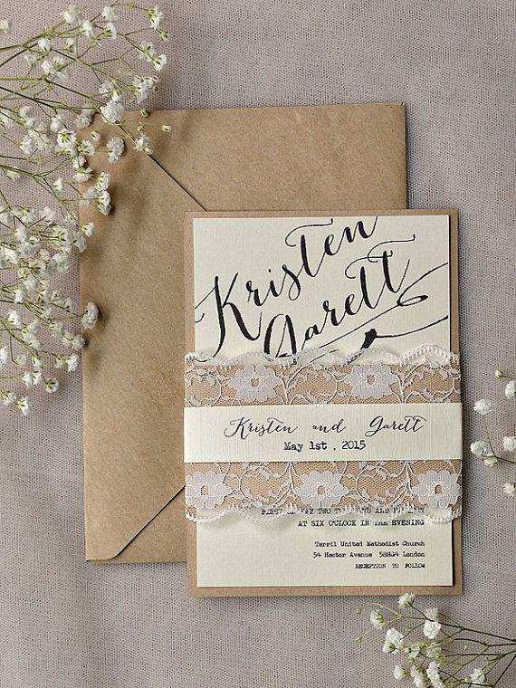 dentelle rustique faire part de mariage invitations de mariage de calligraphie invitation de - Faire Part Mariage Etsy