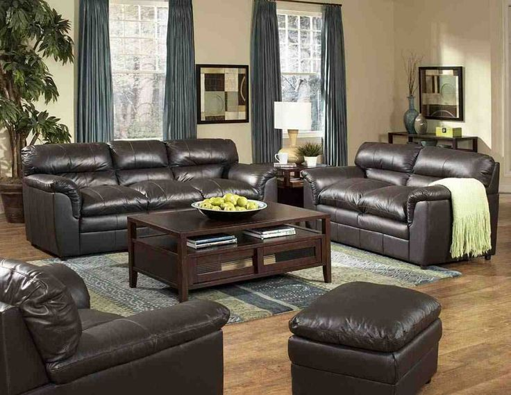 24 best leather living room set images on Pinterest Leather - black living room set