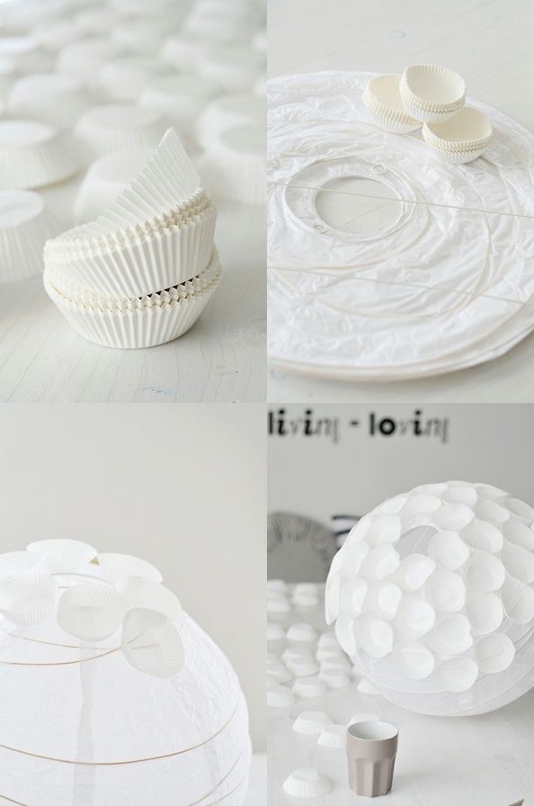 White paper lantern + white cupcake liners = Creative!  The blog post is not in English, but the picture gives you the idea. ;-)