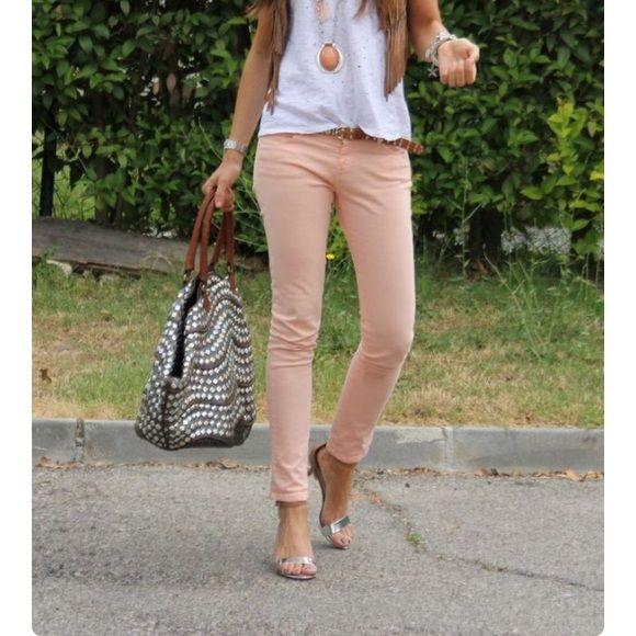 ZARA nude peach jeans premium denim collection. **will post actual pic soon** Zara Jeans