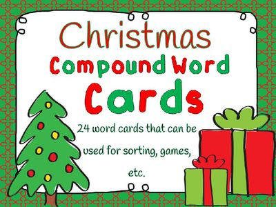 Christmas Compound Word Cards FREEBIE- 24 cards for game, sort, etc. from Wife Teacher Mommy on TeachersNotebook.com -  - This freebie includes 24 words cards that can be used to teach compound words.
