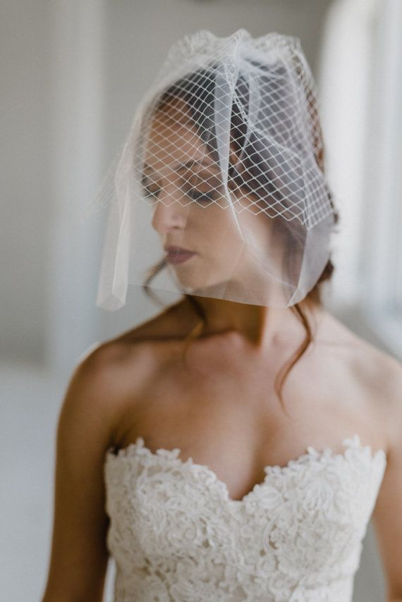 French Net and Tulle Birdcage Veil Tulle Blusher Veil