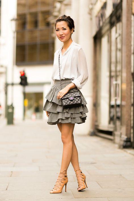 Printed blouse & gingham skirt