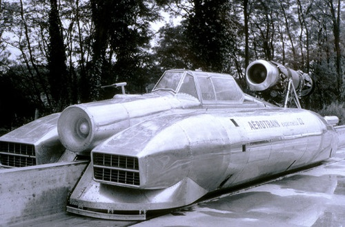 Full size prototype of the Aerotrain, France, late '60s
