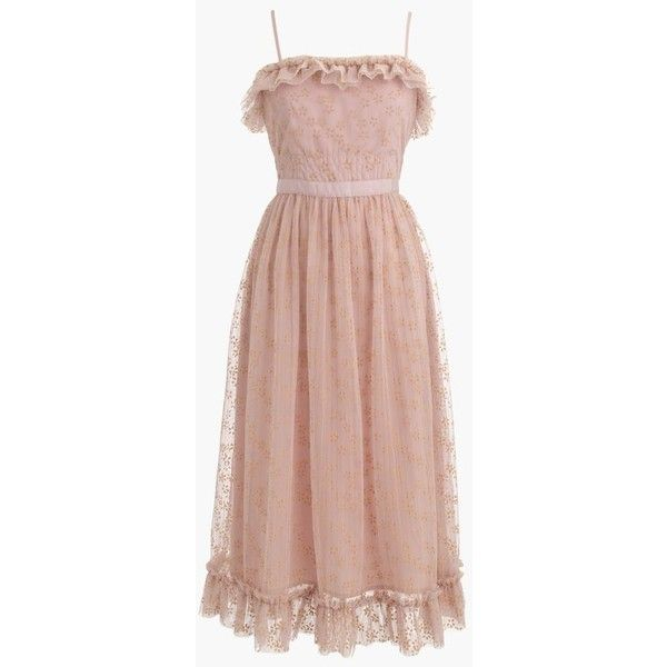J.Crew Ruffly tulle dress ($83) ❤ liked on Polyvore featuring dresses, petite, flower embroidered dress, below the knee cocktail dresses, going out dresses, petite cocktail dress and tulle party dress