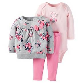 Just One You™Made by Carter's® Baby Girls' 3 Piece Floral Top/Solid Legging Set - Grey/Pink : Target