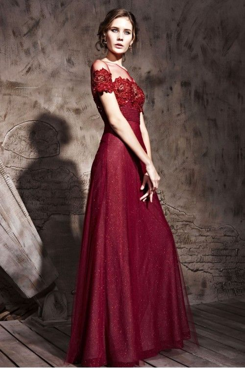 Elegant Couture Maroon Bridesmaid Dress With Blooming Sleeves