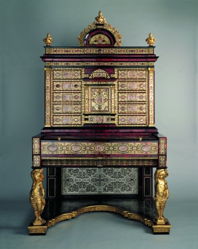 "*1700 Belgian Secrétaire cabinet in the Royal Collection, UK - From the curators' comments: ""The imposing scale and highly elaborate decoration of this cabinet, consisting of geometric marquetry of brass, pewter, copper and tortoiseshell enriched with agate and jasper panels, place it firmly in the category of 'parade' furniture of the kind made fashionable by Louis XIV."""