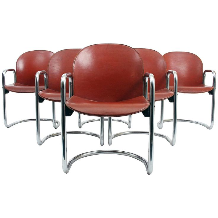Six Afra And Tobia Scarpa 1974 Dialogo Leather Dining Chairs For B