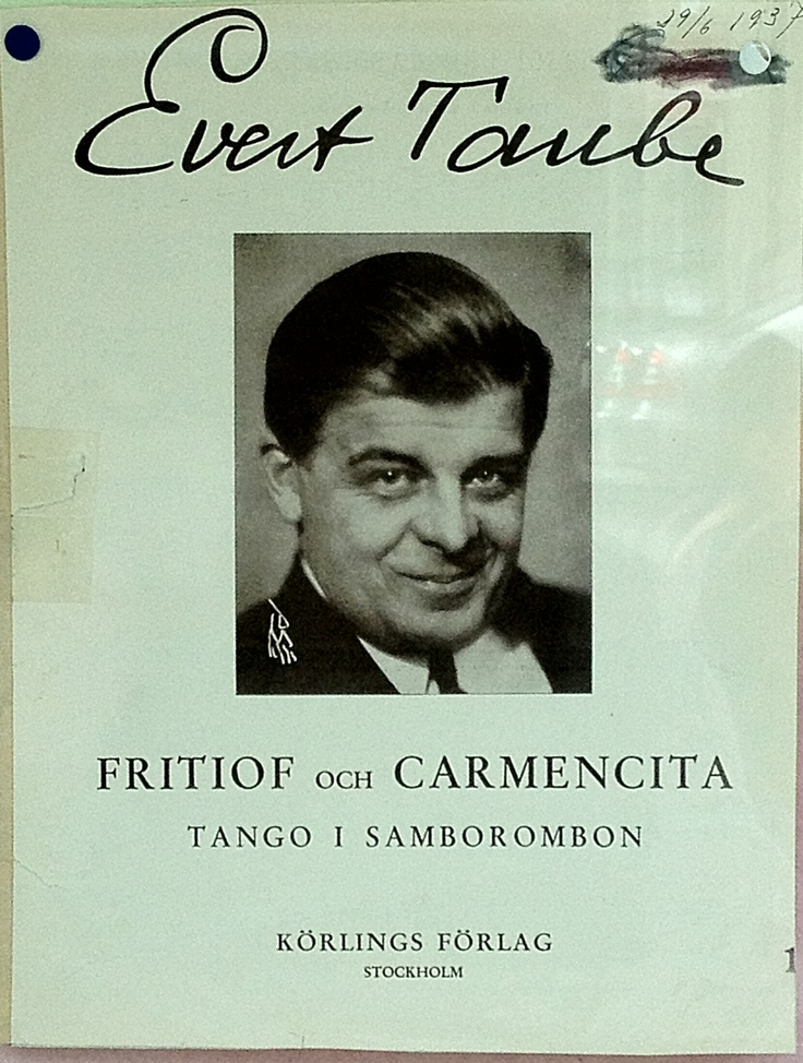 """Evert Taube with the song text to the classic song """"Fritiof och Carmencita""""."""