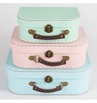 Set 3 valises en carton pastel