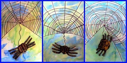 spinnenweb met sterke lijm; een drup zwarte verf er door en goed mengen. op laten drogen; waterverf of ecolink gebruiken. de spin erop plakken. (kun je ook van chenilledraad maken)