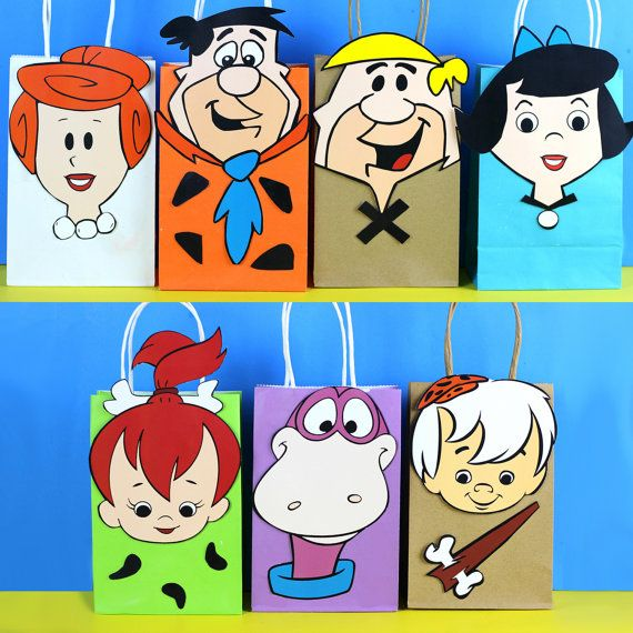 DIY Flinstones Party Favor Bags. Simply Download, Print, Cut and Paste. Print as many copies as you need.