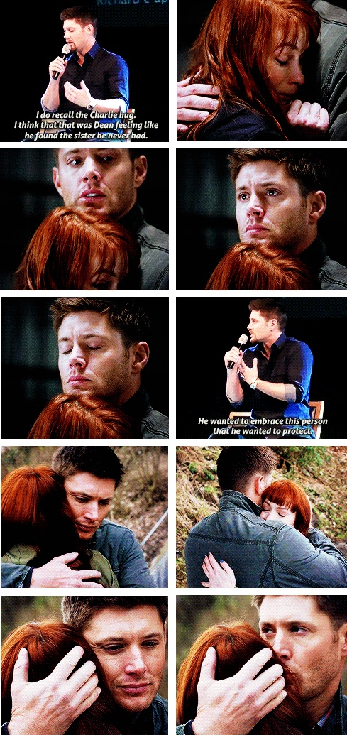 I was very jealous of the hugs Dean and Sam gave Charlie. I want gigantic brotherly Winchester hugs. They look very comforting and awesome.