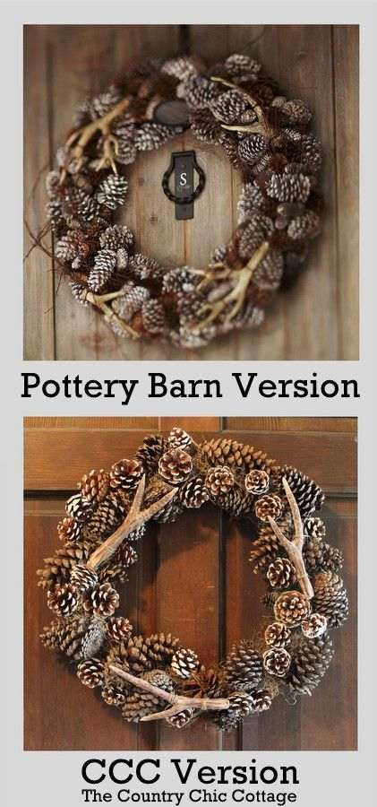 "Pottery Barn Pine Cone Wreath with...faux antler... DIY Tutorial...Can be used for Christmas as well....Thank you ""Country Chic Cottage""... for sharing such a GREAT PB project!"