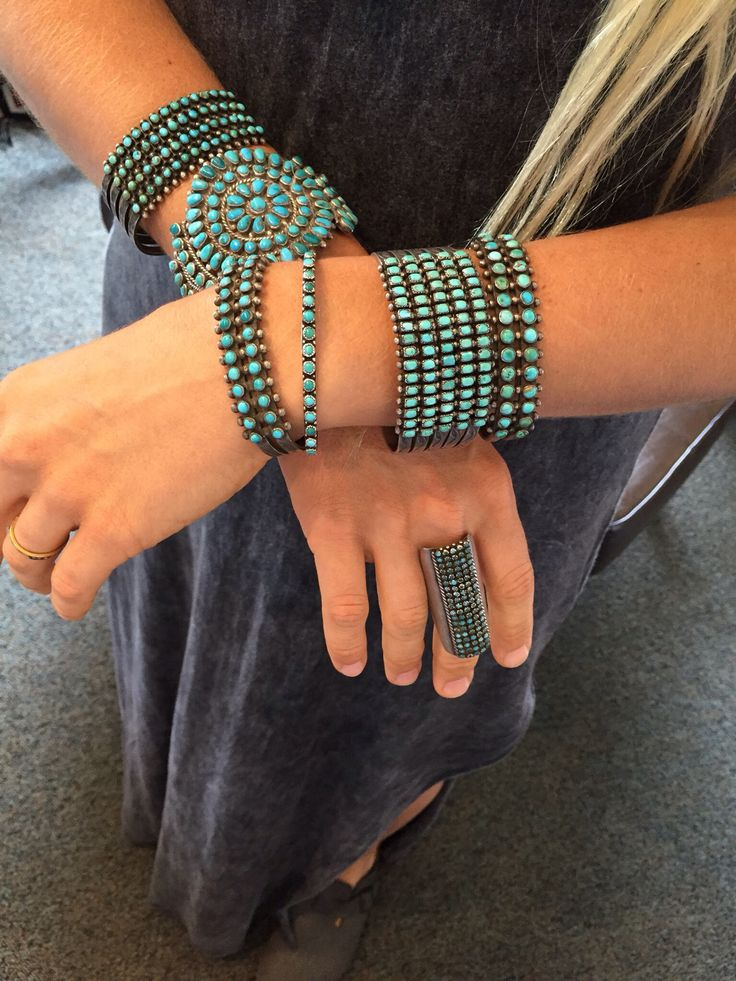Lots of dots! Vintage Zuni bracelets and ring
