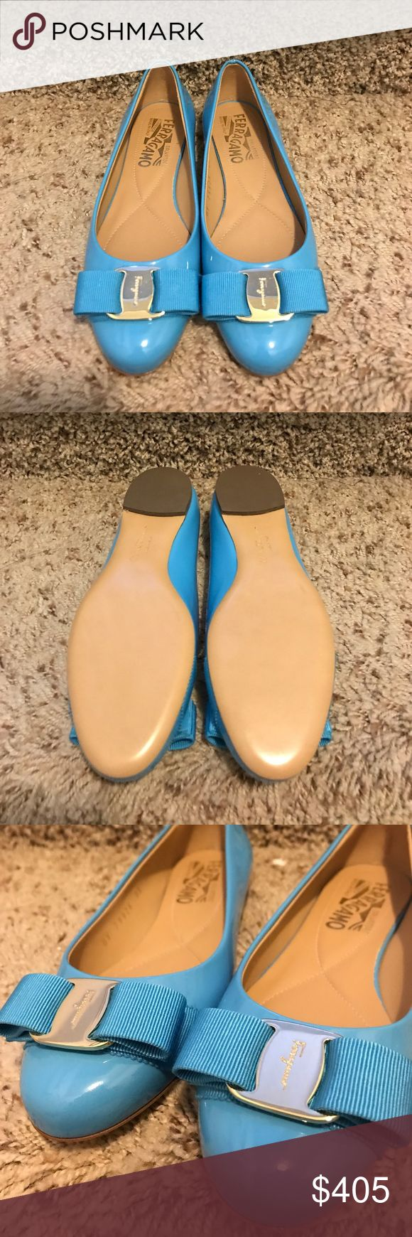 Brand new Ferragamo Vara flats bright blue Never worn as you can see from the shoe bottoms. Very cute blue that you might not be able to find somewhere else Salvatore Ferragamo Shoes Flats & Loafers