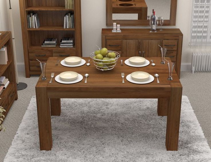 Linea solid walnut home dining room furniture four to six seater dining table