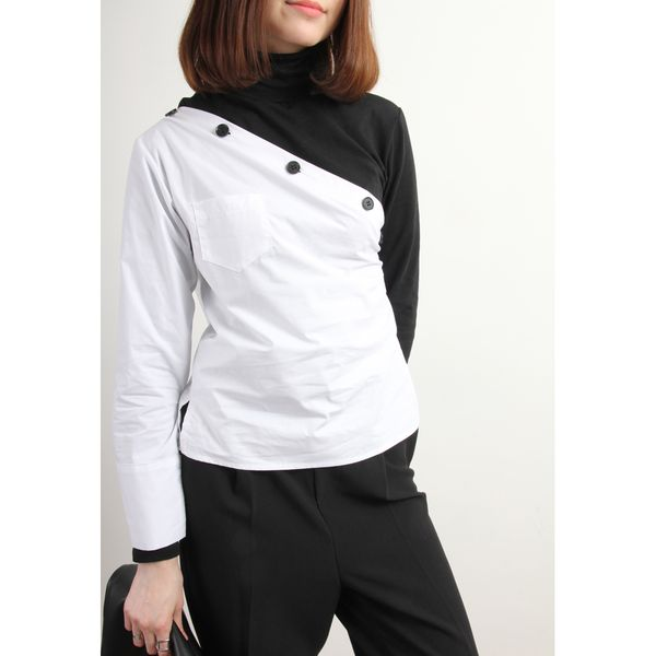 2-In-1 High Neck Jersey Top With Contrast Bias Cut Shirt Layer