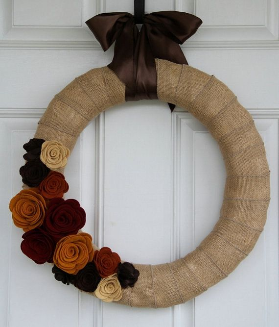burlap wreath with orange rosese | Fall Wreath-Burlap Wrapped Wreath with Handmade Felt Flowers