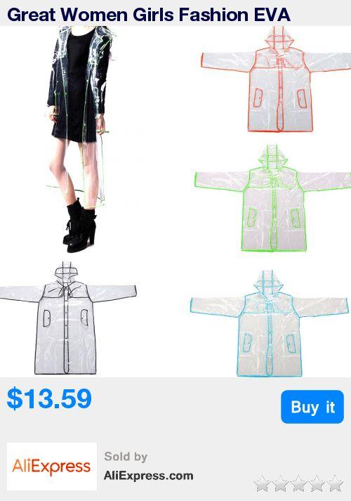 Great Women Girls Fashion EVA Rainwear Transparent Vinyl Long Raincoat Runway Style Rain Coat High Quality For a Gift * Pub Date: 15:32 Jul 11 2017