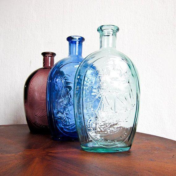 Vintage glass bottles vintage vases by for Liquor bottle vases