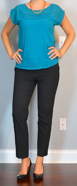 Outfit Posts: outfit post: teal crepe blouse, black ankle pants, black pumps