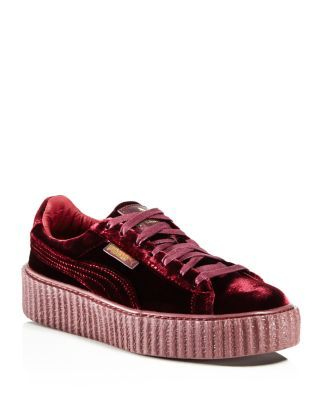 FENTY X PUMA FENTY PUMA X RIHANNA WOMEN'S VELVET LACE UP CREEPER SNEAKERS. #fentyxpuma #shoes #