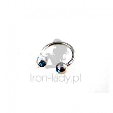 Kolczyk do wargi nosa Podkowa niebieski kryształ